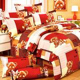 《KOSNEY 喜氣熊熊 》加大100%活性精梳棉六件式床罩組台灣製