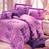 《KOSNEY 紫影語調 》加大100%活性精梳棉六件式床罩組台灣製