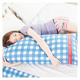 【奶油獅】格紋系列-台灣製造-100%精梳純棉可拆洗長型抱枕(含枕心)100CM(藍)