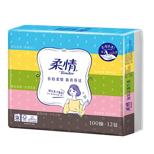 柔情抽取式衛生紙100抽^~12包