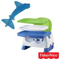 費雪牌 Fisher-Price寶寶小餐椅+幼兒學習軟性鯊魚牙刷0-1Y(可當固齒器使用)