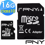 PNY 16G MicroSDHC Class 10 記憶卡 附轉卡