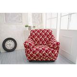 【Osun】一體成型防蹣彈性沙發套、沙發罩圖騰款(富貴招財-紅色金盞花1人座)