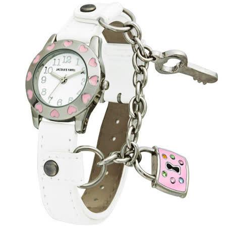 Jacques Farel Kids  愛情枷鎖童趣兒童腕錶-銀X白