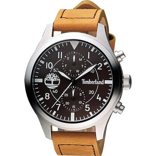 Timberland 叢林野戰系列日曆腕錶~咖啡x卡其 TBL.14322JS12