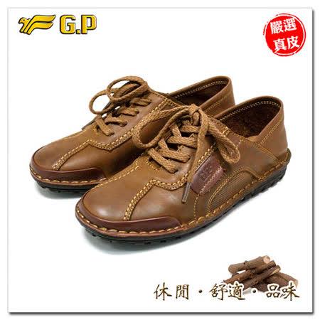 【G.P】阿亮嚴選-秋冬男款-紳士休閒皮鞋P9405-31(棕色)共二色
