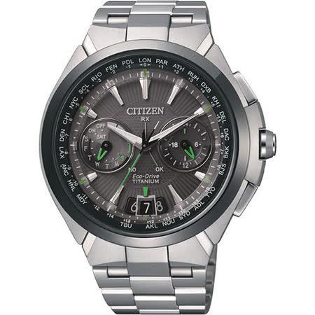 CITIZEN Eco-Drive 衛星對時旗艦鈦腕錶-灰x銀/48mm CC1086-50E