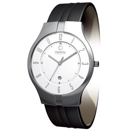 OBAKU 簡樸美學層次數字時尚腕錶-白x黑帶