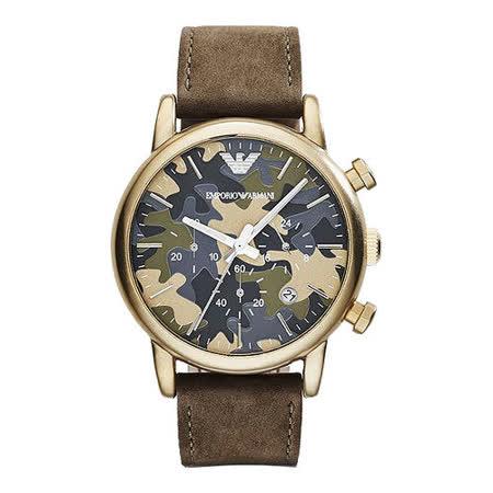 ARMANI Classic 軍迷彩式風格計時腕錶-金框x咖啡 AR1818