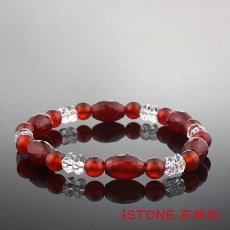 石頭記 紅瑪瑙鼓型手鍊-時尚貴氣