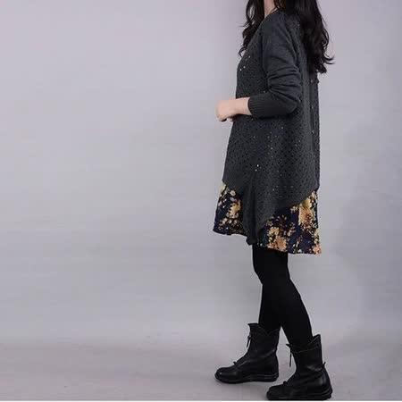 【Maya 名媛】 (m~2xl)春秋寬鬆二件式棉麻+針織罩衫 套裝 鐵灰色花百搭罩衫系列連衣裙/洋裝組