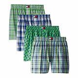 【Tommy Hilfiger】2014男時尚綠藍格子系列平口內著混搭4件組【預購】