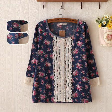 【MIDORI╭。綠】小清新碎花蕾絲編七分袖襯衫(FD00167)