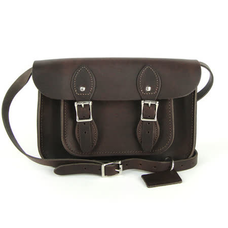 【The Leather Satchel Co.】11吋 頂級原色 英國手工牛皮劍橋包 肩背 側背包 精湛工藝 新款磁釦設計方便開啟(深咖啡)