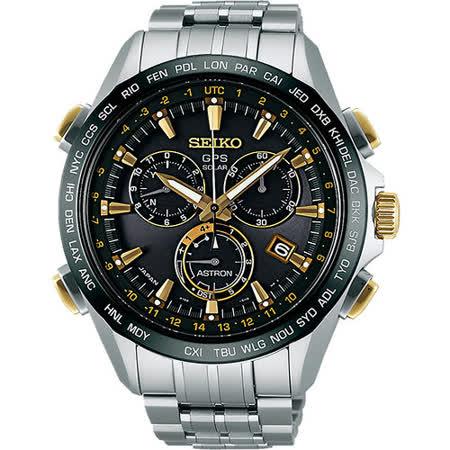 SEIKO ASTRON GPS 衛星定位太陽能【鈦】計時腕錶-黑x銀 8X82-0AB0K