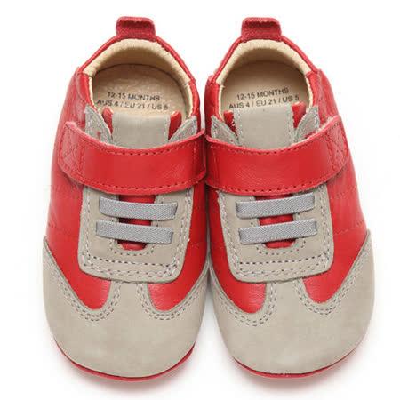 Old Soles澳洲頂級真皮手工學步鞋-灰紅057