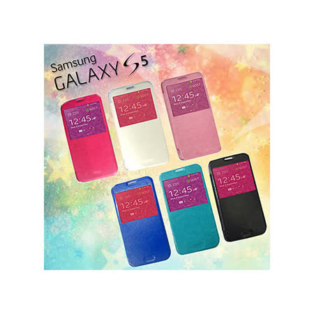VXTRA  Samsung GALAXY S5 4G LTE SM-G900I 歐風皮紋視窗側翻皮套