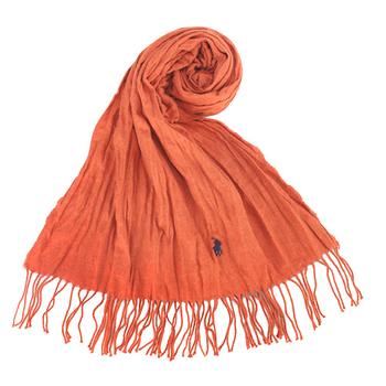 RALPH LAUREN POLO 新款小馬LOGO素面抓皺圍巾-橘色