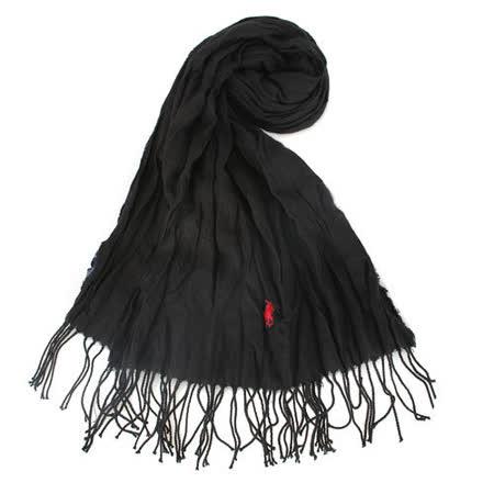RALPH LAUREN POLO 新款小馬LOGO素面抓皺圍巾-黑色