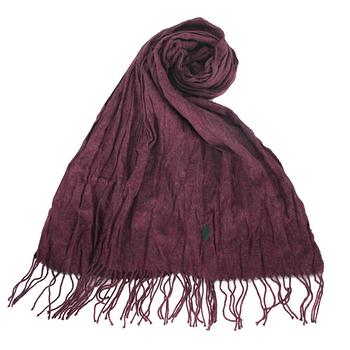 RALPH LAUREN POLO 新款小馬LOGO素面抓皺圍巾-葡萄紫