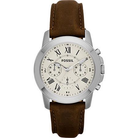 FOSSIL Grant 旗艦計時復刻腕錶-卡其x咖啡 FS4839