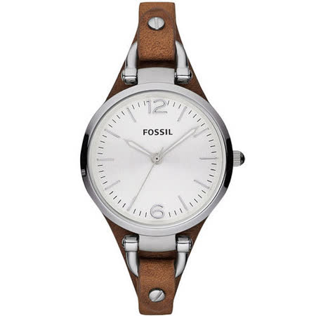 FOSSIL 俏皮女孩時尚腕錶-銀/咖啡 ES3060