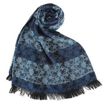 Vivienne Westwood 新款條紋雙色滿版星球圖樣披肩圍巾-藍色