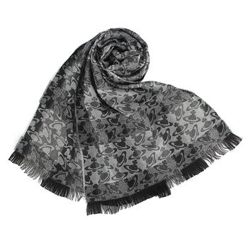 Vivienne Westwood 新款條紋雙色滿版星球圖樣披肩圍巾-黑灰色