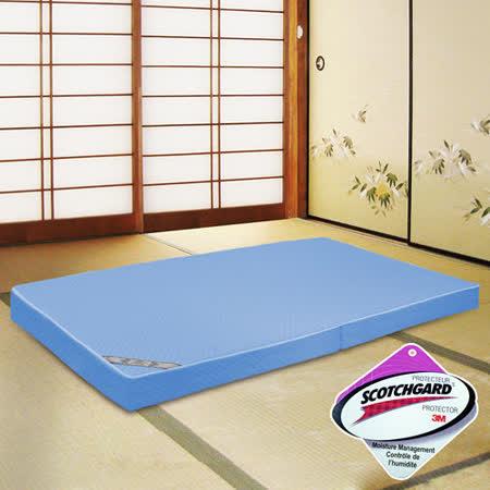KOTAS高週波吸濕排汗透氣折疊床墊 單人 三尺 藍