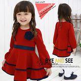 【秋冬新款】花朵燕尾裙((紅色))甜美長袖洋裝~