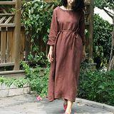 【Maya 名媛】 (m~l)自然舒適棉麻 文藝質感簡約風格圓領長袖長袖洋裝 袍子 連身裙-咖紅色
