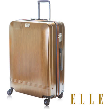 【ELLE】法式頂級髮絲紋十字雕刻紋行李箱25吋輕時尚100%純法國PC材質(金EL3114225-06)