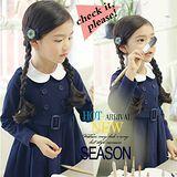 【秋冬新款】藍色雙排扣~甜美長袖洋裝~
