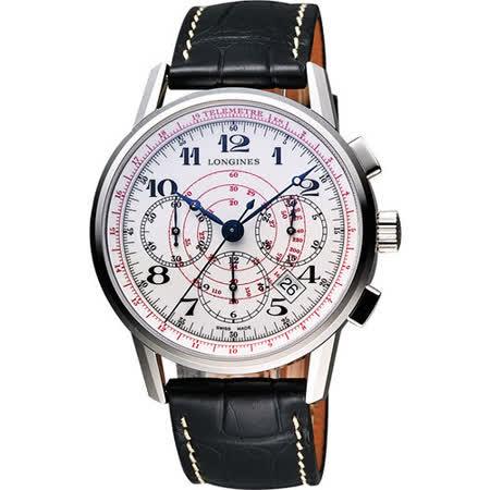 LONGINES Heritage 180週年紀念視距儀計時機械腕錶-白 L27804182
