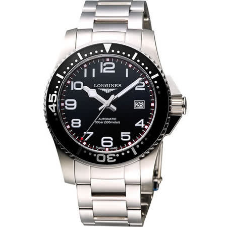 LONGINES 深海征服者300米潛水機械錶-黑/銀 L36954536