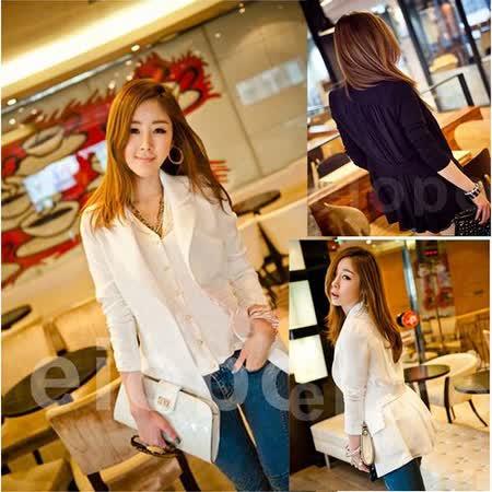 【韓系女衫】春秋韓系百搭 西裝式罩 小外套 都會風小女人款-白/黑