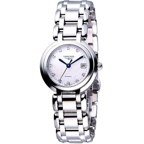 LONGINES PrimaLuna 新月水舞真鑽機械腕錶-銀 L81134876