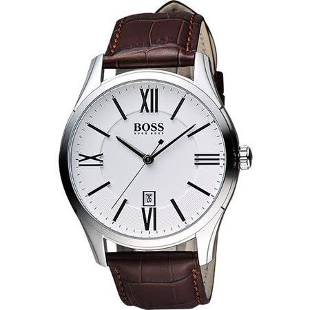 Hugo Boss 羅馬時尚英倫腕錶-銀x咖啡 H1513021