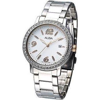 ALBA 絢麗晶鑽潮流風女腕錶 -白.玫瑰金刻