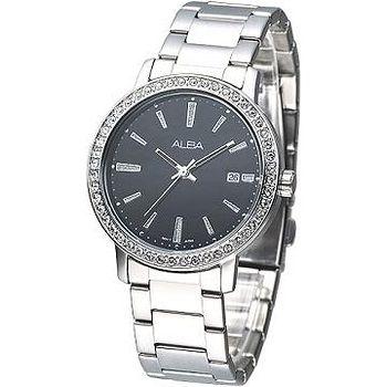 ALBA 完美晶鑽潮流風女腕錶 -黑