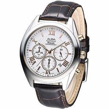 ALBA 紳士羅馬風3眼計時腕錶 -銀框
