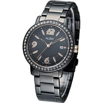 ALBA 絢麗晶鑽潮流風女腕錶 -全IP黑