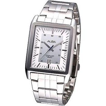 ALBA 都會潮男方形個性鋼帶腕錶 -銀白