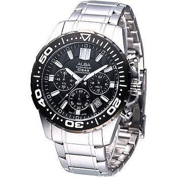 ALBA 競速運動風3環計時腕錶 -黑