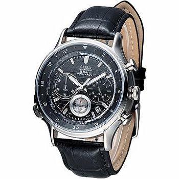 ALBA 優質3眼計時世界時間GMT 腕錶