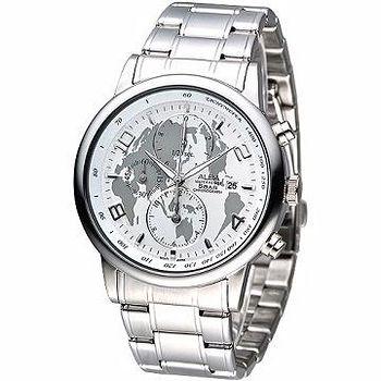 ALBA 玩賞世界風3眼計時腕錶 -白
