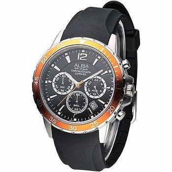 ALBA 運動風3眼計時藍寶石鏡面腕錶 -橘框