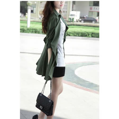 【韓系女衫】春秋絲綿 有內裡 微涼適用 帥氣風衣立體下擺罩衫/外套-帥氣軍綠色