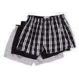 【CK】2014男時尚黑灰色條格紋混搭平口內著3件組【預購】