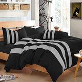 Aileen-黑色騎士-拼色運動加大四件式被套床包組